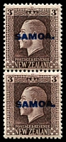 Lot 4127 [3 of 4]:1916-19 NZ KGV Opts SG #139b-42b set of 4 - recess printed vertical pairs P14x13½ & P14x14½, Cat £82. (4 prs)