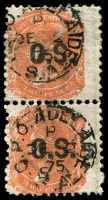 Lot 2064:1874-76 Wmk Crown/SA (Wide) Thick 'O.S.': SG #O38 2d orange-red P10 pair.