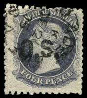 Lot 2062:1874-77 Thick 'OS' Wmk Large Star Perf 11½-12½: SG #O8 4d dull violet (closer to a violet-slate!) P11½-12½.