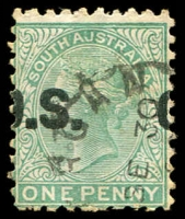 Lot 2065:1876-80 Wmk Crown/SA (Close) Thick 'O.S.': SG #O43(Var) 1d blue-green with OS badly misplaced horizontally.