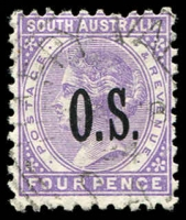 Lot 2066:1891-99 Narrow 'OS' Wmk Crown/SA (Close) Perf 10: SG #O61 4d pale violet.