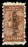 Lot 2050:1883-99 Wmk Crown/SA (Close) Perf 11½-12½ SG #187s ½d red-brown optd 'SPECIMEN', rough perfs.