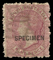 Lot 9411:1901-02 Wmk Crown/SA (Wide) Perf 11½-12½ (Large Holes) 9d claret, opt 'SPECIMEN', rough perfs. [This is the reprint on wmk Crown/SA (Wide) hand-made paper with streaky gum.]