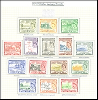 Lot 4315:1954-63 QEII Pictorials SG #106a-18 complete set, Cat £85. (15)
