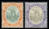 Lot 4310:1903 Wmk Crown/CA SG #7,9 1/- & 2/6d (couple of shortish perfs), Cat £23. (2)