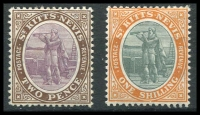 Lot 4311:1905-18 Wmk Mult Crown/CA SG #15,20 2d & 1/-, both normal paper, Cat £61. (2)