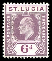 Lot 4323:1904-10 KEVII Wmk Mult Crown/CA SG #72ab 6d dull purple & bright purple.