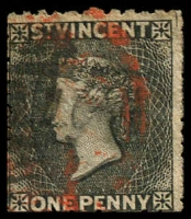 Lot 4330:1875-78 Wmk Small Star Perf 11-12½x15 SG #22 1d black, Cat £16, red cancel & black cancel.
