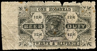 Lot 1751:1901 No Watermark Perf 11¾: 12/6d One Hogshead black, Elsmore Online Cat $450. Quite tatty, but rare.