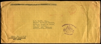 Lot 4446:1968 stampless long envelope from the Australian Consulate, Dili, Timor to England, violet 'COMMONWEALTH OF AUSTRALIA/[arms]/FRANKING STAMP' on face. Rarely seen mail from this small consulate.