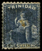 Lot 4449:1862-63 Thick Paper Perf 11½,12 SG #63 1/- bluish slate, perfs trimmed at base, Cat £110.