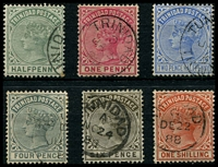 Lot 4452:1883-94 Wmk Crown/CA SG #106-12 ½d to 1/-, Cat £14. (6)