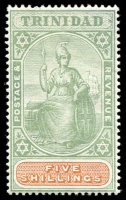Lot 4455:1896-1906 Britannia SG #122 5/- green & brown, Cat £60.