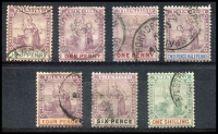 Lot 4454:1896-1906 Britannia SG #114-8,120-1 ½d to 1/-, ex 5d, Cat £43. (7)