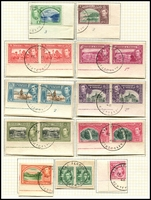 Lot 4468 [1 of 2]:1938-44 Pictorials SG #246-56 complete set incl a few extras, many with San Fernando Centenary cancels, several imprint/plate no pairs on piece, Cat £115. Plus all other KGVI issues. (38)