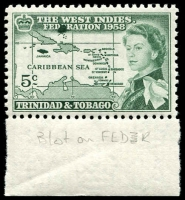 Lot 4473 [3 of 3]:1958 Caribbean Federation SG #281-3 marginal single set, 5c with Green blob obliterates 2nd E of FEDERATION. (3)