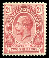 Lot 4485:1913-21 KGV Values At Top Wmk Mult Crown/CA SG #138a 2/- red/greenish white, Cat £32.