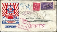 Lot 4270:1939 (Dec 19) use of 3c Baseball 2c Adams on Baseball Centennial cover from Cooperstown to Melbourne, unclaimed and returned. 'G.B.D. ELIZABETH ST/1/11AP25/JA40/MELBOURNE' (B1) on face and back.