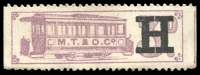 Lot 2116:Melbourne Tram & Omnibus Co: 3d mauve ticket, value overprinted with 'H', unused.