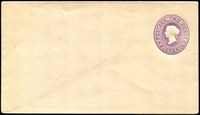 Lot 1976:1887 Embossed QV With Stamp Duty Added Stieg #B6 2d violet.