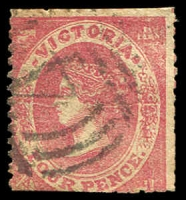 Lot 2354:1859 Emblems Horizontally Laid Paper Perf 12 4d (trimmed at base) with Horizontal crack through centre of stamp.