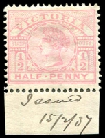 "Lot 2361:1886-96 New Stamp Duty Designs Wmk 2nd V/Crown SG #311 ½d pink marginal single, hinge rem, Cat £45. The marginal note ""Issued/15/2/87"" is in the hand of JH Gibbs, comptroller of stamps."