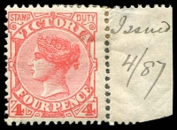 "Lot 2362:1886-96 New Stamp Duty Designs Wmk 2nd V/Crown SG #316 4d rose-red marginal single, hinge rem, Cat £55. The marginal note ""Issued/4/87"" is in the hand of JH Gibbs, comptroller of stamps."