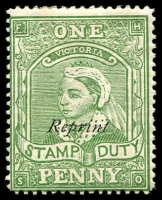 Lot 2357:1891 UPU Reprints 1d green SDuty reprinted on V2 paper, optd 'Reprint'.