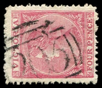 Lot 2501:205: 1st type on 4d Laureate.  Allocated to Wahgunyah-PO 1/7/1858; LPO 3/5/1994.