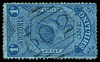 Lot 2526:502: on 1/- Stamp Statute. [Rated R - rare on postal fiscals]  Allocated to Oaklands Junction-PO 1/1/1865, provisionally closed 30/6/1971; closed 1/10/1971.