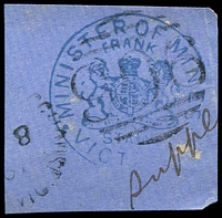 Lot 2077:906: cancelling blue Minister of Railways frank, part 1887 datestamp.  Allocated to Mount Blackwood Receiving House-RH 13/9/1875; renamed Mount Blackwood RO 22/11/1921.