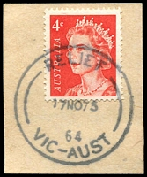 Lot 13046:3rd Asian Oceanic Postal Union Congress: - 'RELIEF/17NO75/64/VIC-AUST' on 4c on piece.  PO 17/11/1975; closed 18/11/1975.