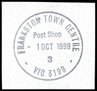 Lot 3028:Frankston Town Centre: - WWW #50 'FRANKSTON TOWN CENTRE/Post Shop/1OCT1999/3/VIC 3199' on piece.  Replaced Quayside PO 1/10/1998.