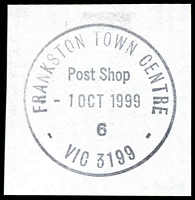 Lot 3031:Frankston Town Centre: - WWW #80 'FRANKSTON TOWN CENTRE/Post Shop/1OCT1999/6/VIC 3199' on piece. [Only recorded date.]  Replaced Quayside PO 1/10/1998.