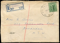 Lot 3048:Frognall R.A.A.F. P.O.: - WWW #10 'AIR FORCE P.O./20AU43/31.' (LRD - A1 backstamp) on 4d Koala on cover with blue provisional registration label. [Rated 3R - the first we have offered.]  PO 7/6/1943; closed 30/8/1946.