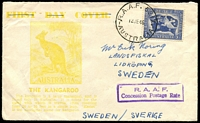 Lot 3050:Frognall R.A.A.F. P.O.: - WWW #30 'AIR FORCE 5217./12JE46/AUSTRALIA', on 3½d Peace on old Haslem ½d Roo cover to Sweden, violet boxed 'R.A.A.F./Concession Postage Rate' handstamp on face. [Rated 2R]  PO 7/6/1943; closed 30/8/1946.