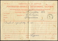 Lot 3052:Fryerstown: - WWW #30 23mm unframed 'FRYERSTOWN/NO3/10/VIC[TORIA]', on telegram form (small stains). [Rated R]  Renamed from Fryer's Creek PO c.1856; closed 28/11/1975.