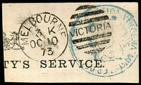 Lot 14317:Melbourne: - WWW #1155 'MELBOURNE/3K/OC10/73 - VICTORIA', fine strike on poor Minister of Public Instruction frank .  PO 13/4/1837; renamed Elizabeth Street PO 4/6/1917.