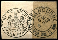 Lot 3193:Melbourne: - WWW #12320 double-circle 'PAID MELBOURNE/AM/530/19 9 03/2' (LRD - no price) on wrapper piece with part The Treasurer franked address label.