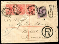 Lot 3162 [1 of 2]:Penshurst: - WWW #15 unframed duplex 'PENSHURST/OC9/01/VICTORIA - 141' on 1d pink x3 & 2d violet on registered Tatt's cover, boxed 'TOO LATE' on face.  PO 1/9/1857; LPO 15/10/1993.