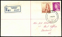 Lot 3184 [1 of 2]:Penshurst: - 'RELIEF/7FE73/57/VIC-AUST' on 7c & 50c on registered cover with blue registration label. [Used 2-12/2/73]  PO 1/9/1857; LPO 15/10/1993.