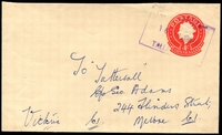 Lot 3200:Tallangatta (2): - WWW #405 violet boxed 'TELEGRAPH OFFICE/16FEB1967/TALLA[NGATTA]' on 4c Envelope. The only recorded example  PO 14/4/1955; LPO 1/2/1995.