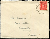 Lot 17704:Tally Ho: - WWW #20A 'TALLYHO/1?MY44/VIC' (error - one word) on 2½d red KGVI on cover.  PO 1/12/1882; LPO 10/8/1993; replaced by Burwood East LP 7/11/1997.