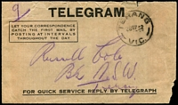 Lot 17761:Terang: - WWW #70 'TERANG/28MY32/VIC.' on telegram envelope  PO 1/3/1859; LPO 5/1/1999.
