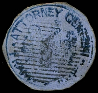 Lot 3485:Attorney-General: Die 1 handstamp in blue cancelled by thick '1' killer, cut-to-shape.