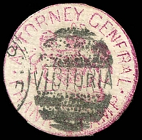 Lot 3486:Attorney-General: Die 2 handstamp in red cancelled by Melbourne duplex, cut-to-shape.
