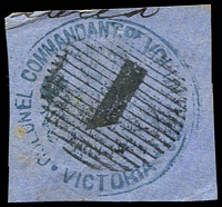 Lot 3487:Colonel-Commandant of Volunteers: handstamp in blue with thick '1' killer. [Very rare]