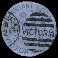 Lot 3488:Commandant Local Forces: handstamp in blue with Melbourne cancel, cut-to-shape. [Rare]