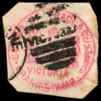 Lot 3489:Commissioner of Trade and Customs: messy Die 2 handstamp in red used at Melbourne. [Rare]
