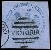 Lot 16397:Crown Lands & Survey: handstamp in blue used at Melbourne. [scarce]